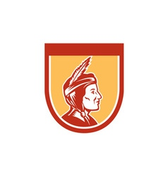 Native American Indian Chief Shield Retro vector image