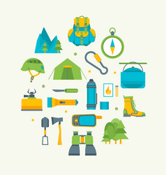 cartoon traveling camping and hiking round design vector image vector image