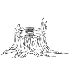 Hand drawn old stump black and white outline vector image vector image
