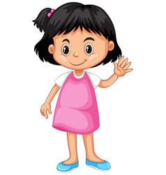 little girl waving hand hello vector image