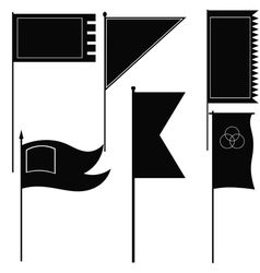Set of silhouettes of military flags vector image vector image