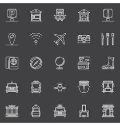 Travel white icons set vector image
