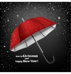 umbrella snow and Christmas greeting vector image vector image