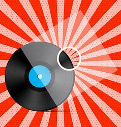 Vintage Retro Red Background with Vinyl LP Record vector image