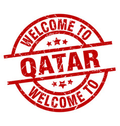 Welcome to qatar red stamp vector