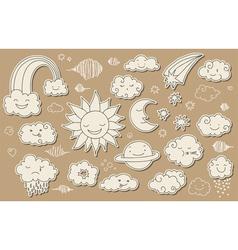 Cute sky doodle vector image vector image