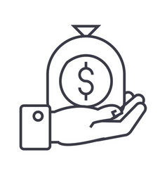 hand with money bag linear icon sign symbol vector image