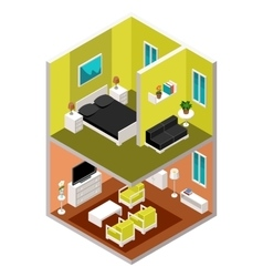 isometric house in a section vector image vector image