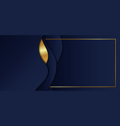 Abstract blue gradient color wave shape with gold vector