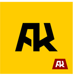 Ak letters symbol a and k letters ligature vector