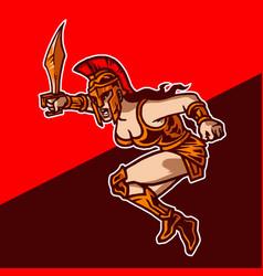 Amazons female warrior mascot logo vector