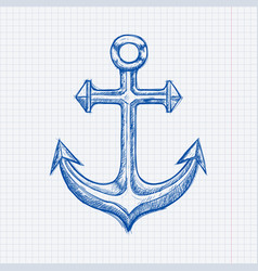 Anchor blue hand drawn sketch on lined paper vector