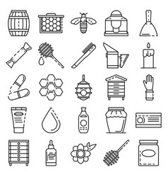 apiculture icon set outline style vector image