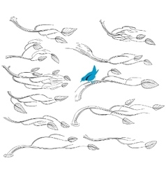 Artistic sketch of branches vector