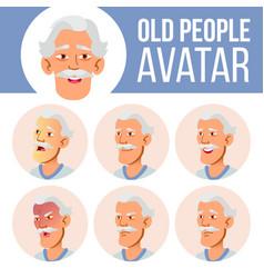 Asian old man avatar set face emotions vector