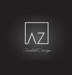 Az square frame letter logo design with black and vector