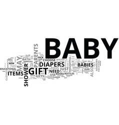 Baby shower gifts text word cloud concept vector