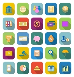 Banking color icons with long shadow vector image