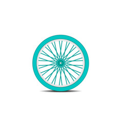 Bicycle wheel in cyan design with shadow vector