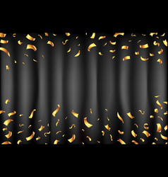 black curtain gold confetti falling stars vector image