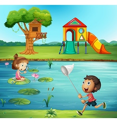 Boy and girl at the pond vector