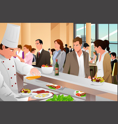 Business people eating in a cafeteria vector