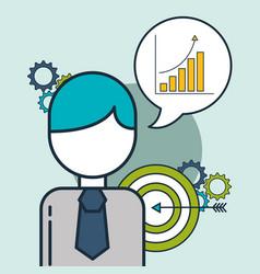 businessman speech bubble diagram target vector image
