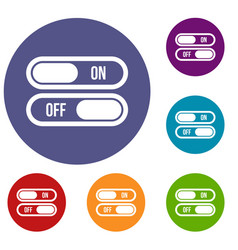 Button on and off icons set vector