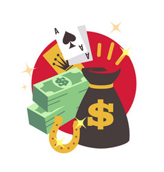 casino poker win concept with money flat winner vector image