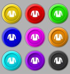 casual jacket icon sign symbol on nine round vector image