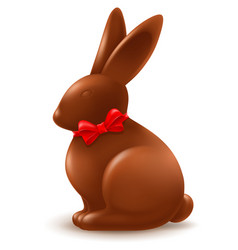 Chocolate easter bunny with red bow vector