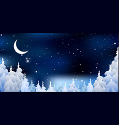 Christmas a background and snowy forest vector