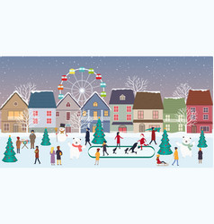 christmas fair winter landscape in city with vector image