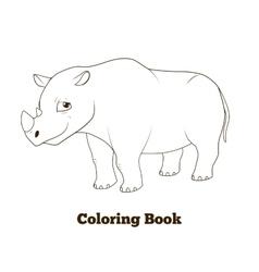 Coloring book rhino african animal cartoon vector