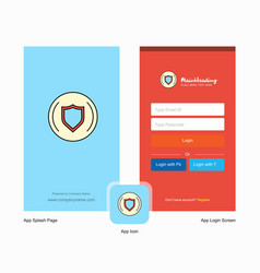 company protected sheild splash screen and login vector image