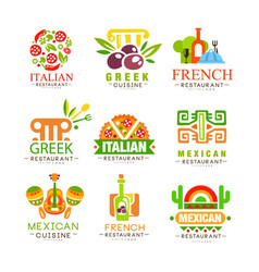 Continental cuisine logo design set italian vector