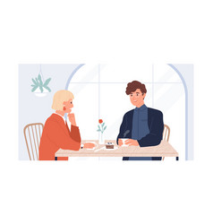 Couple young man and woman sitting and talking vector