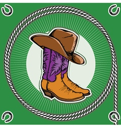 Cowboy bootsvintage western decor background with vector