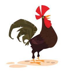 Cute cartoon rooster isolated vector