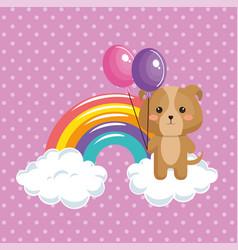 cute dog with rainbow kawaii birthday card vector image