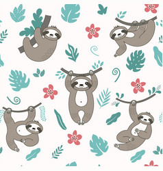 cute sloths vector image