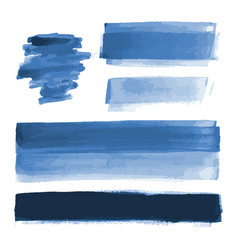Deep blue watercolor shapes brush strokes vector