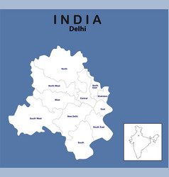 Delhi map outline delhi map with district name vector