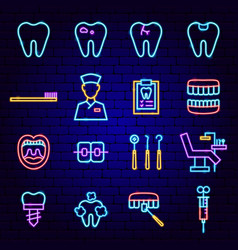 dental clinic neon icons vector image