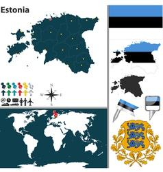 Estonia map world vector image vector image