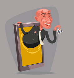evil devil businessman demon agent online mobile vector image