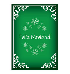 Feliz navidad - green vintage christmas card vector