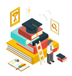 flat 3d web isometric education graduation vector image
