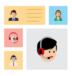 flat center set of secretary operator hotline vector image