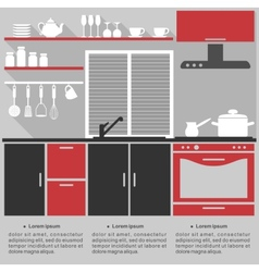 Flat infographic template for a kitchen interior vector